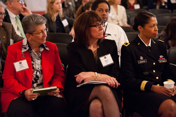 CSM Cindy Pritchett, RET, Maureen Casey, Executive Director, JPMorgan Chase, MG Marcia Anderson, USAR