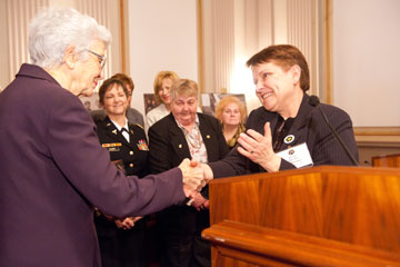 BG Pat Foote, RET accepting award for the Women Who Served in Vietnam & Dee McWilliams