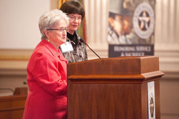 LTC Mary Spring, RET & COL Alice Demarais, RET announce Legacy Scholarship Winners
