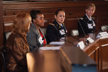 Panel 1: Moderator MG (Ret) Donna Barbisch, USAR; Capt. Elise Hackstall, USAR, Walmart; COL R. Jean Whalen, AN, Warrior Transition; CW5 Phyllis Wilson, Command Chief Warrant Officer of the Army Reserve